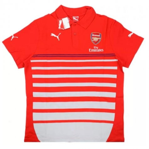 2014-15 Arsenal Puma Hooped Polo T-shirt