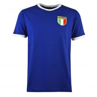 Italy Rugby T-Shirt - Royal/White Ringer