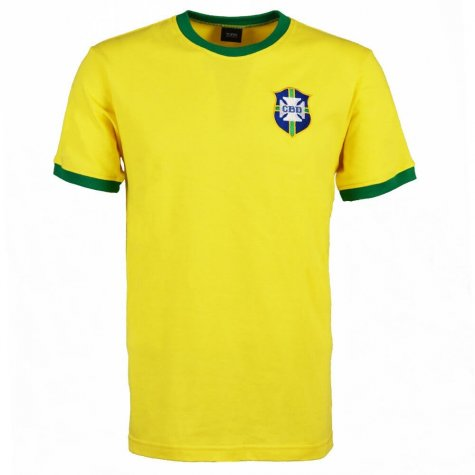 Brazil 1970's World Cup Retro T-Shirt - Yellow/Green