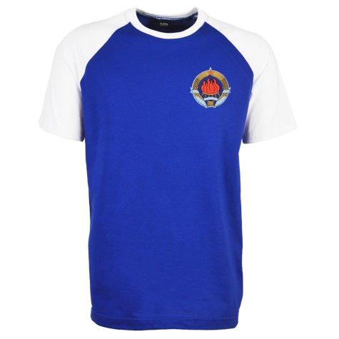 Yugoslavia Raglan Sleeve Royal/White T-Shirt