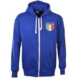 Italy 1975 Vintage Rugby Zipped Hoodie - Royal