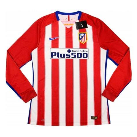 Atletico Madrid Adidas 2015-16 Home Authentic Long Sleeve Football Shirt