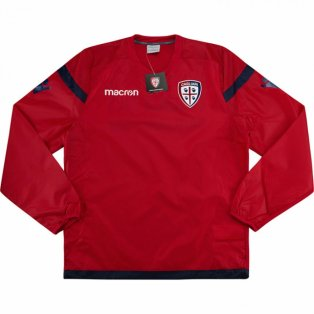 2017-2018 Cagliari Macron Windbreaker Training Top (Red)