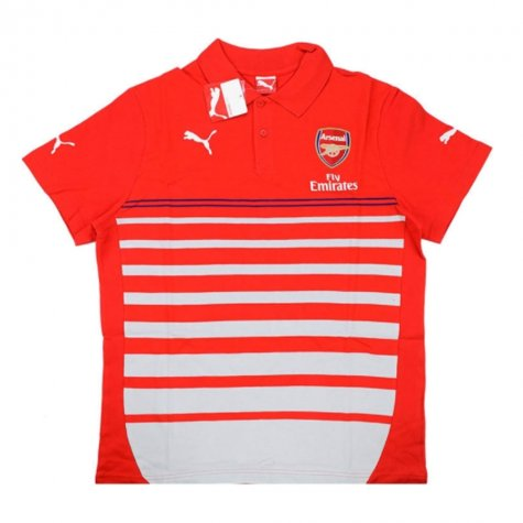 2014-15 Arsenal Puma Hooped Polo Shirt (Red)