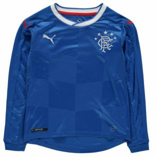 2017-18 Rangers Puma Home Long Sleeve Football Shirt (Kids)