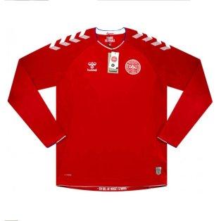 2018-2019 Denmark Hummel Home Long Sleeve Football Shirt