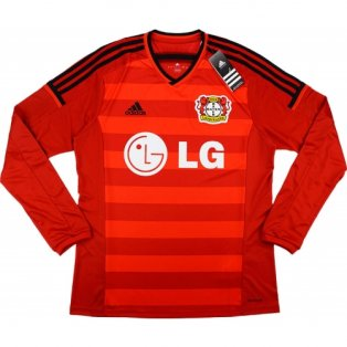2014-15 Bayer Leverkusen Adidas Home Authentic Long Sleeve Football Shirt