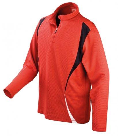 Spiro Cool Dry Quarter Zip Long Sleeve Training Top (Red)