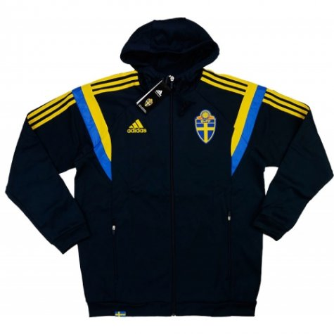 2015-16 Sweden Adidas Hodded Training Top (Black)