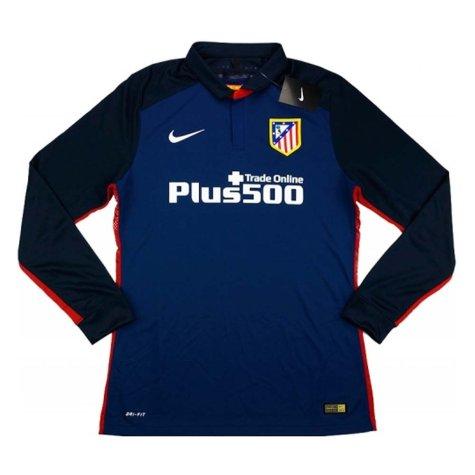 Atletico Madrid Adidas 2015-16 Away Authentic Long Sleeve Football Shirt