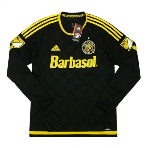 2015-16 Columbus Crew Adidas Home Authentic Long Sleeve Football Shirt