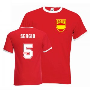 Sergio Busquets Spain Ringer Tee (red)