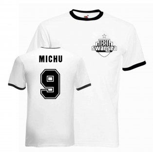 Michu Swansea Ringer Tee (white-black)