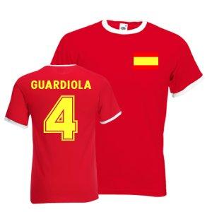 Josep Guardiola Spain Ringer Tee (red)