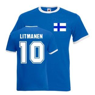 Jari Litmanen Finland Ringer Tee (blue)