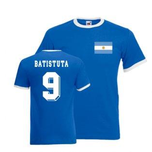 Gabriel Batistuta Argentina Ringer Tee (blue)