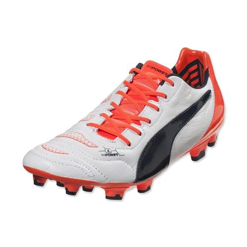 68a4bf91f7c6 Puma Evopower 1.2 Leather FG Football Boots (White-Orange)