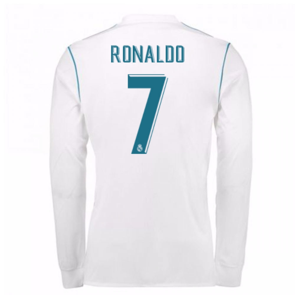 b707b3ee45e 2017-18 Real Madrid Long Sleeve Home Shirt - Kids (Ronaldo 7)